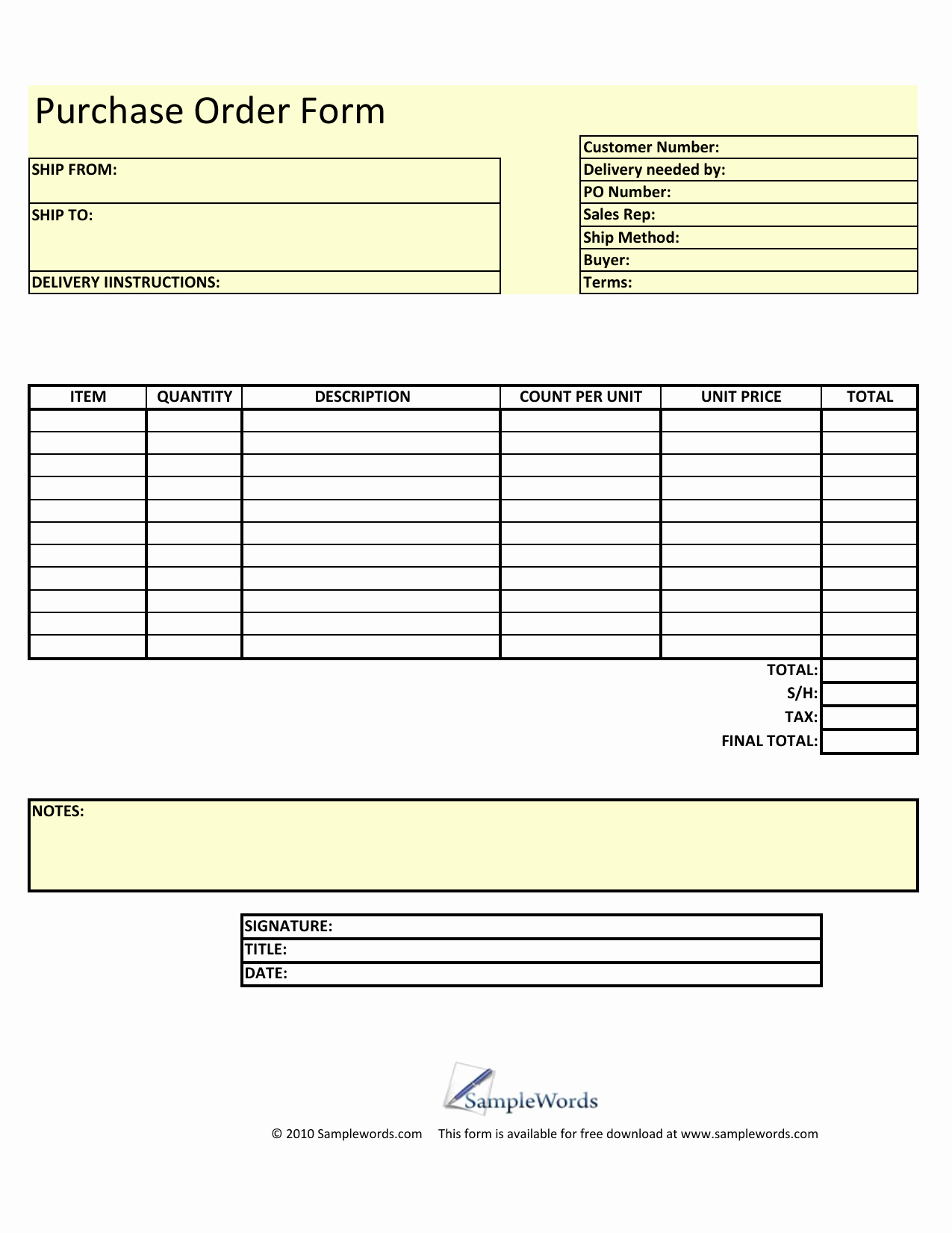 Generic order form Template Unique Download Blank Purchase order form Template Excel