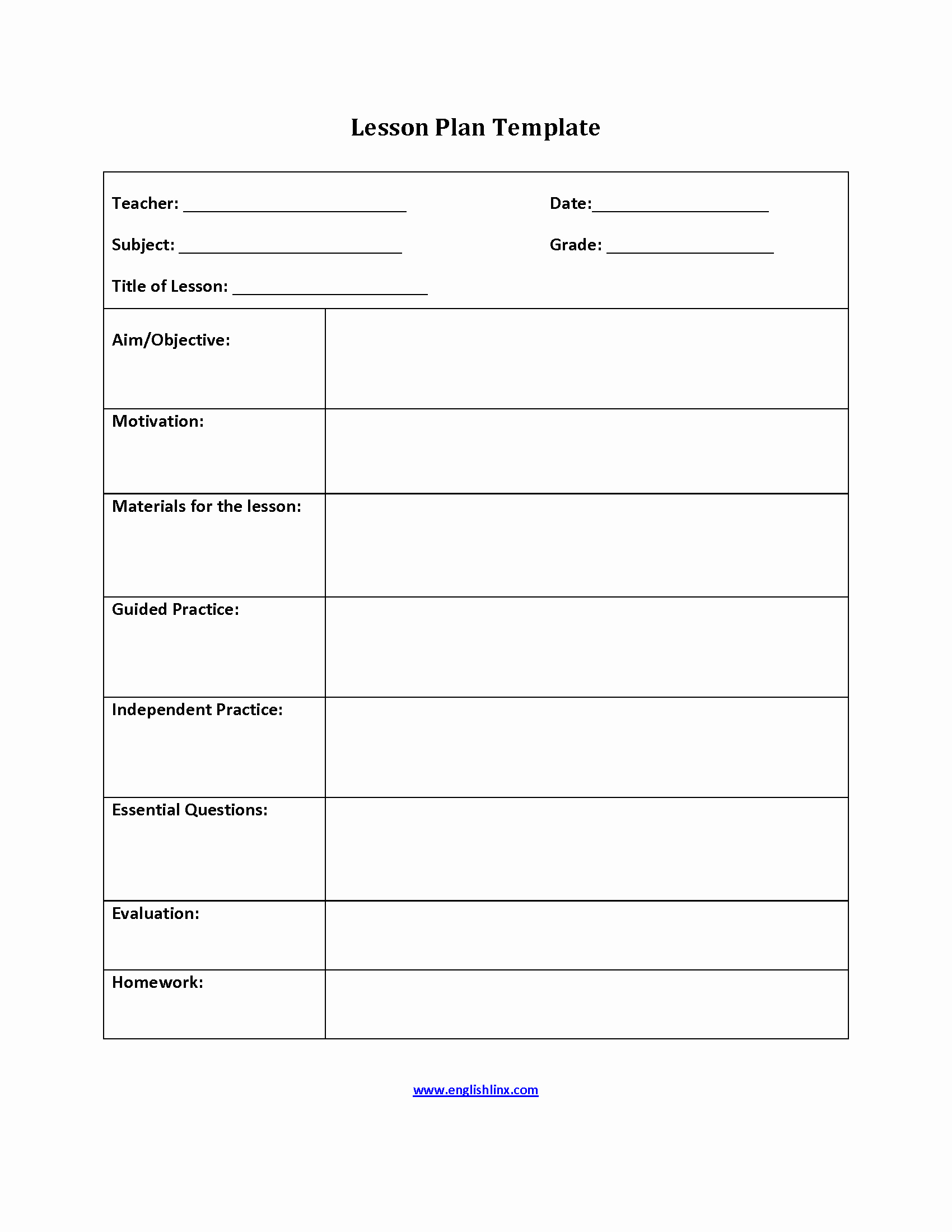 Go Math Lesson Plan Template Best Of Englishlinx