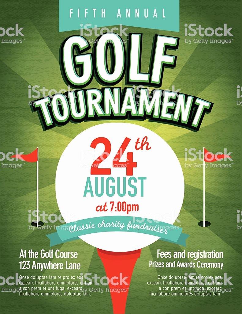 green golf tournament invitation design template on sunburst gm