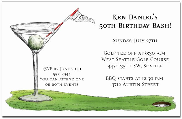 Golf Outing Invitation Template Awesome 19th Hole Martini Party Invitations Golf Invitations