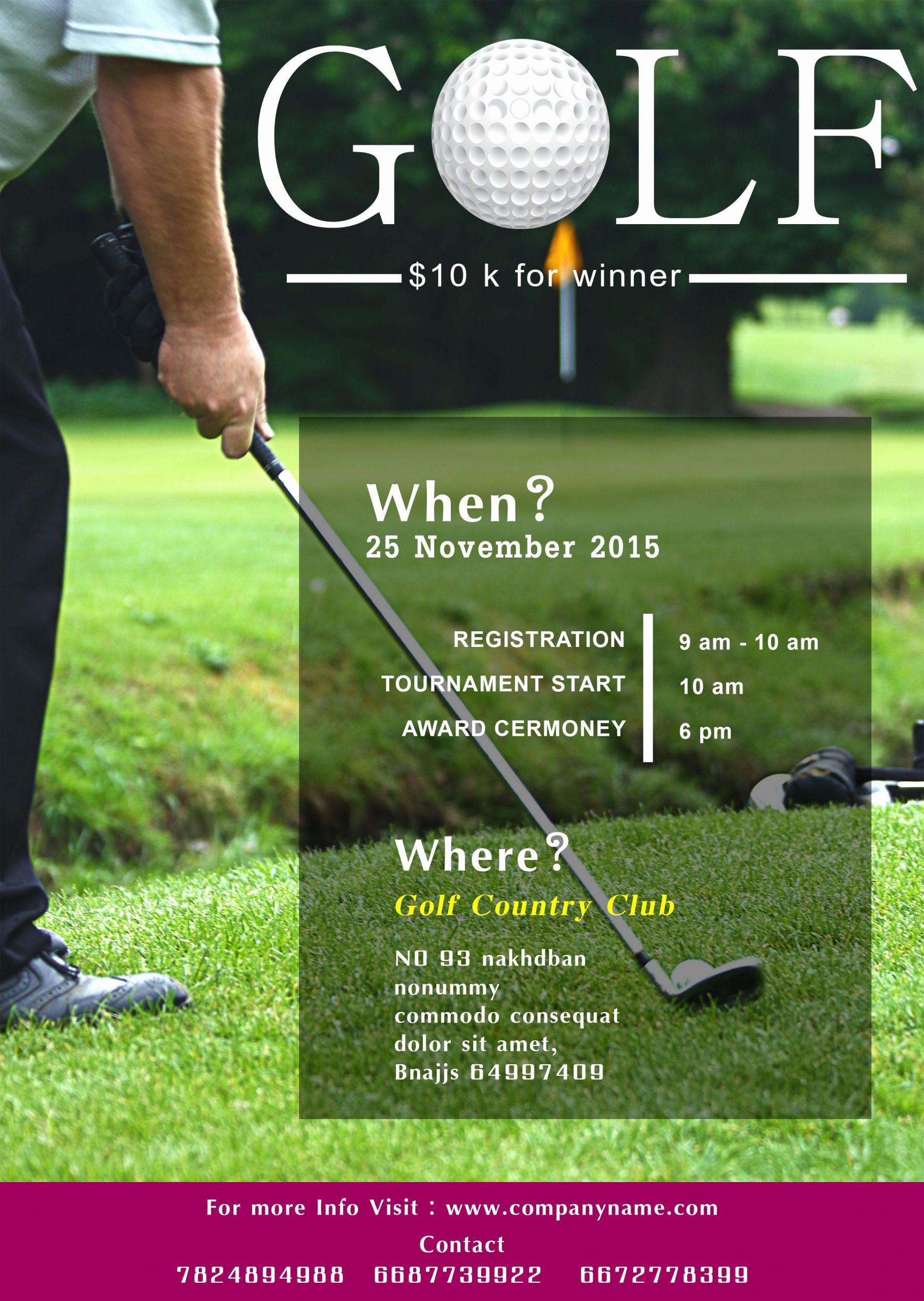 Golf Outing Invitation Template Best Of Golf tournament Flyer Template Free