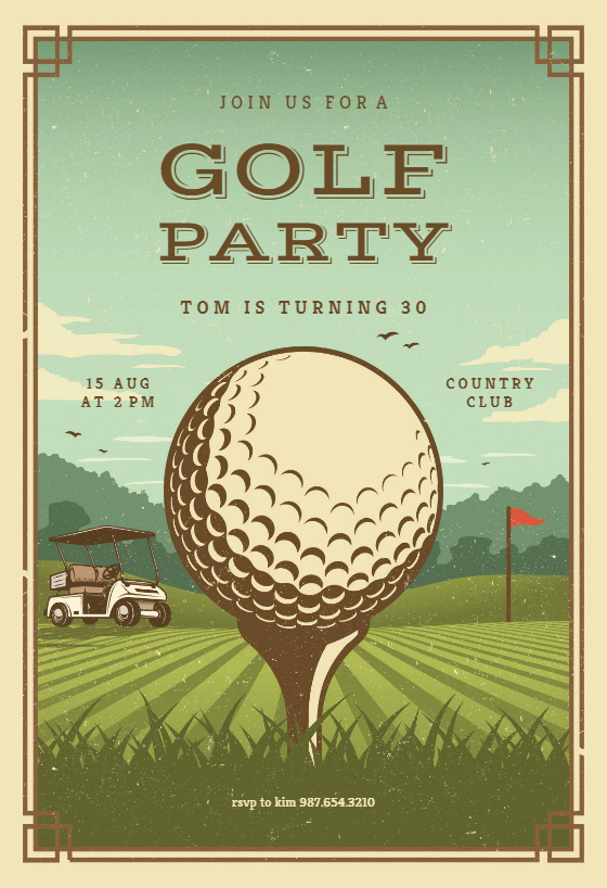 Golf Outing Invitation Template Lovely Retro Golf Invitation Template Customize Add Text and