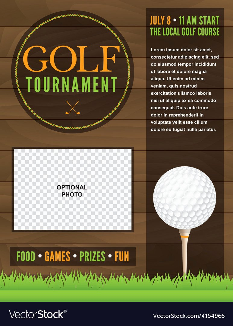 Golf tournament Invitation Template Awesome Golf tournament Flyer Template Royalty Free Vector Image