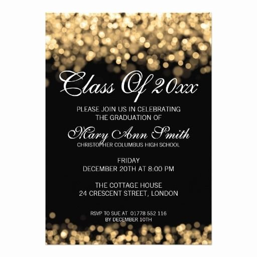Graduation Dinner Invitation Template Best Of Elegant Graduation Party Gold Lights Invitation