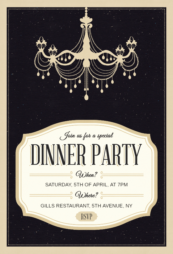 Graduation Dinner Invitation Template Lovely Classy Chandelier Dinner Party Invitation Template Free