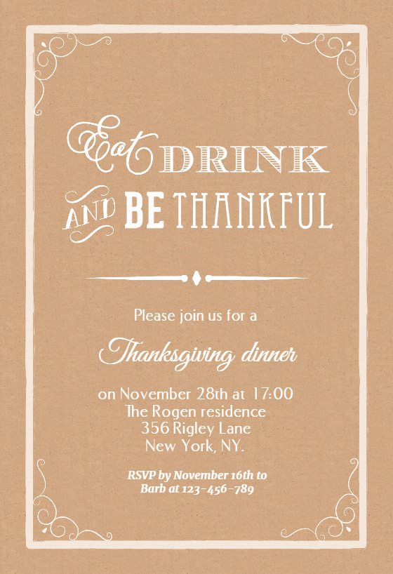 Graduation Dinner Invitation Template New Eat Drink and Be Thankful Thanksgiving Invitation