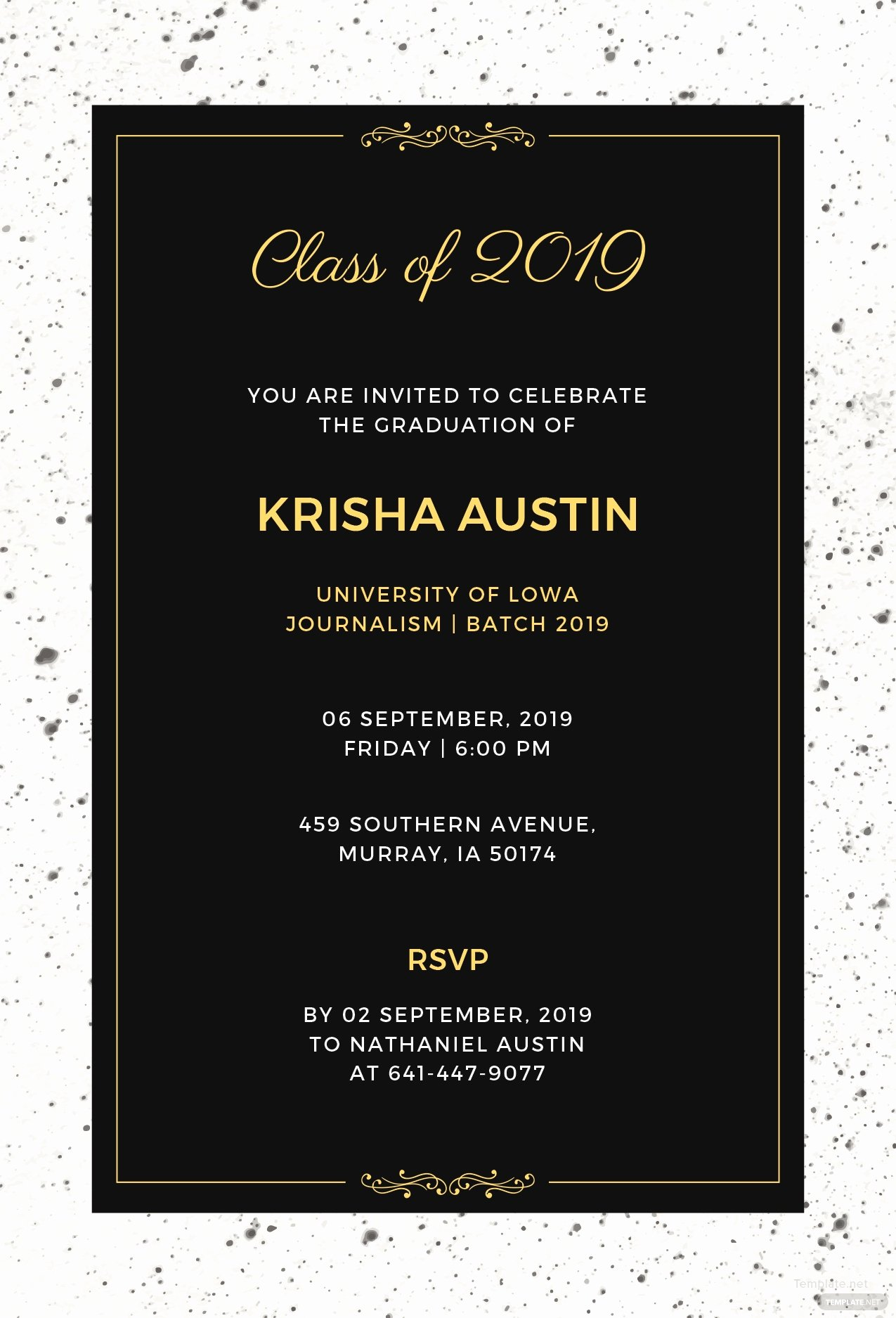 Graduation Dinner Invitation Template Unique Free Graduation Announcement Invitation Template In