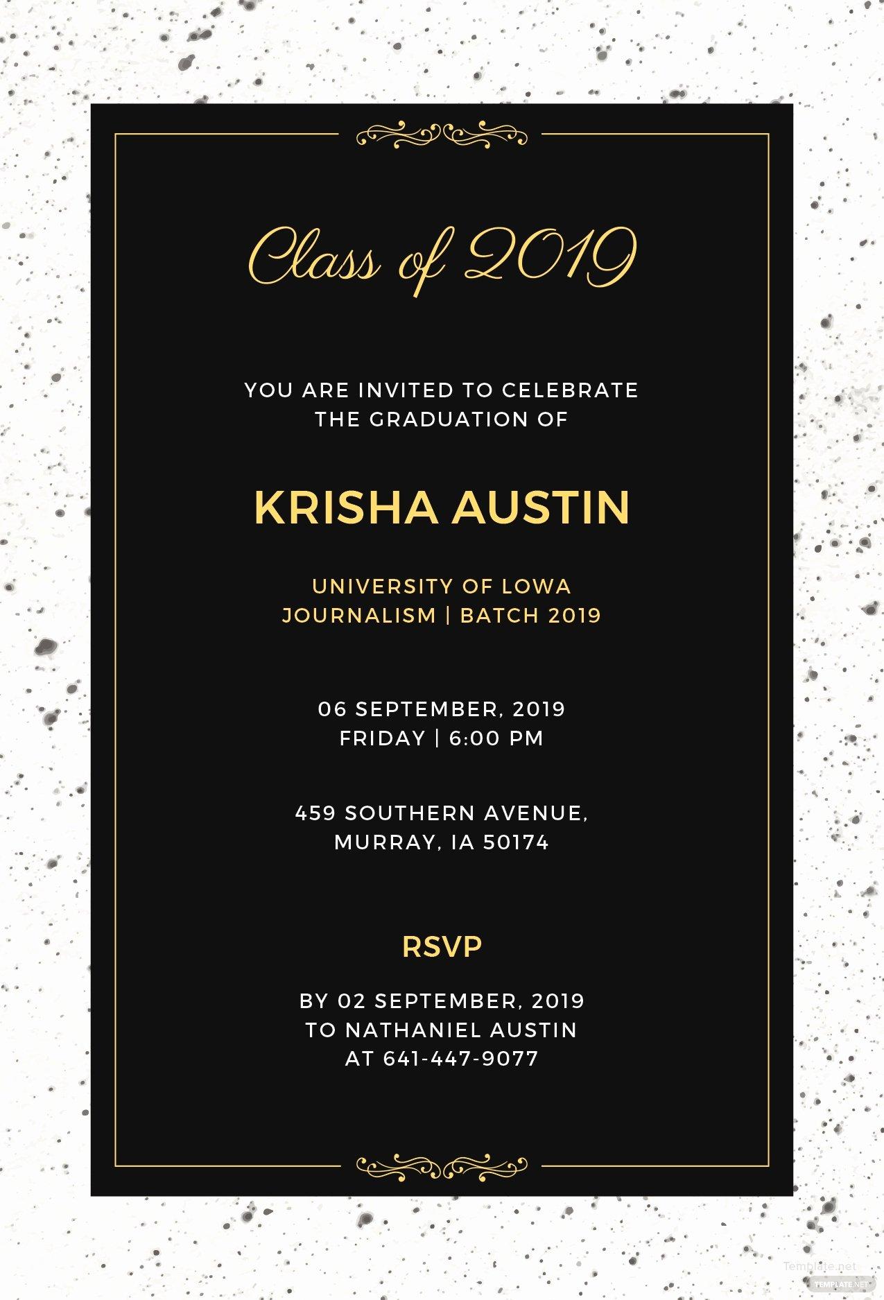 Graduation Dinner Invitation Template Unique Free Graduation Announcement Invitation Template In