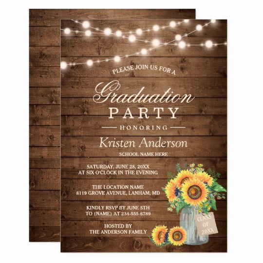 Graduation Dinner Invitation Template Unique Rustic Sunflowers String Lights Graduation Party Card