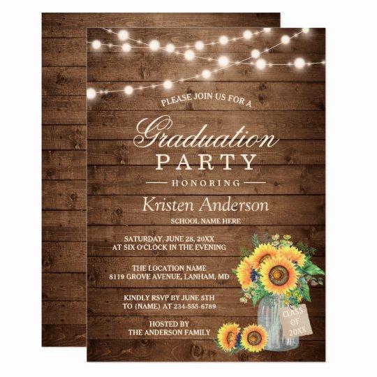 Graduation Dinner Invitation Template Unique Rustic Sunflowers String Lights Graduation Party Card