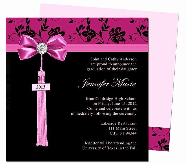 Graduation Party Invitation Template Free Best Of Graduation Announcements Templates Feminine Style Design