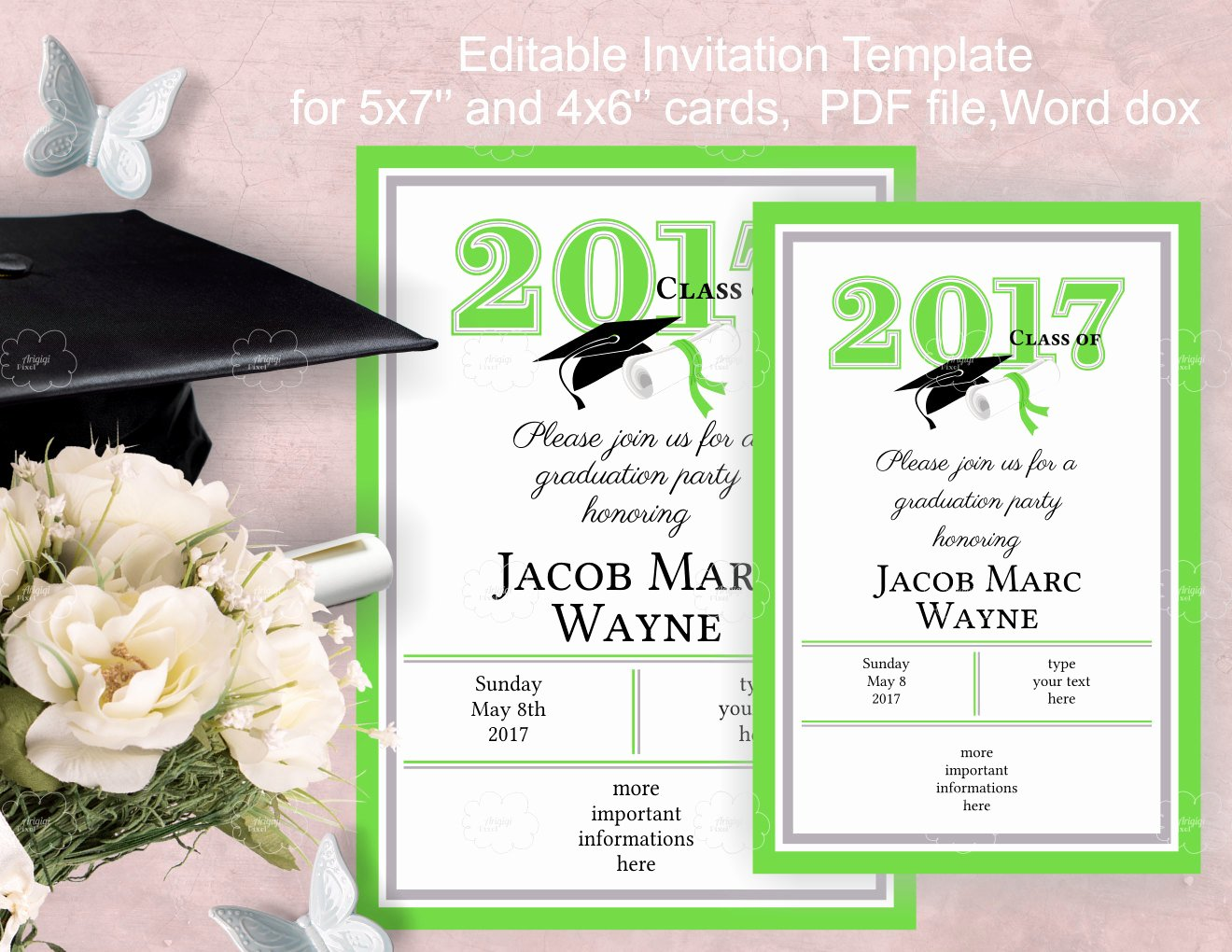 Graduation Party Invitation Template Free Elegant Graduation Party Invitation Template Edit Yourself