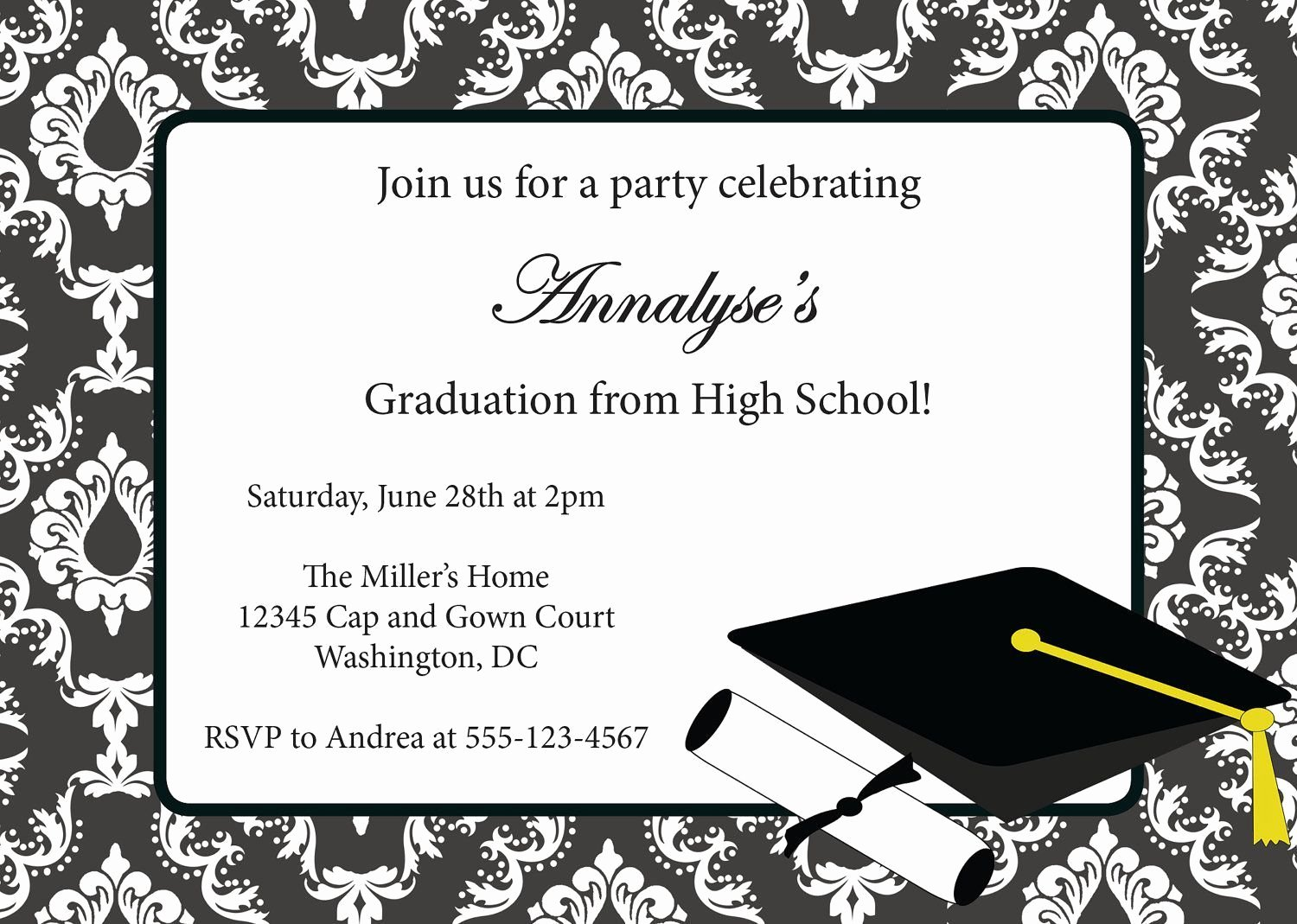 Graduation Party Invitation Template Free Elegant Sample Invitation Card for Graduation Party