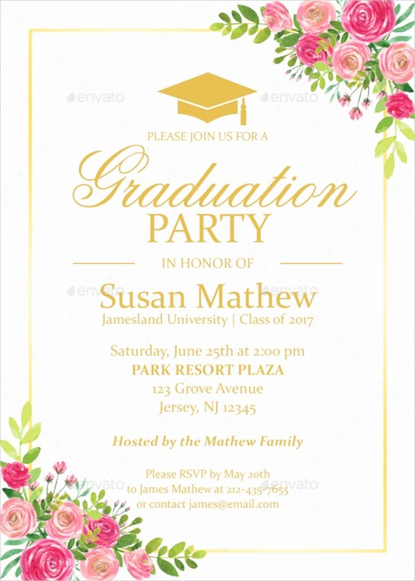 Graduation Party Invitation Template Free Inspirational 22 Sample Graduation Invitations Psd Vector Eps Word