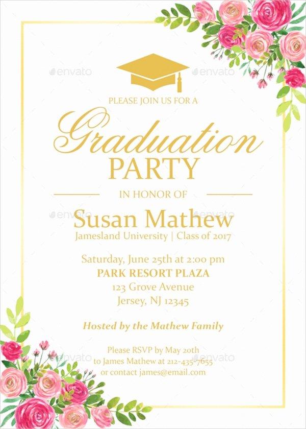 Graduation Party Invitation Template Free Inspirational 22 Sample Graduation Invitations Psd Vector Eps Word