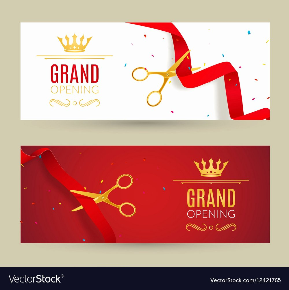 Grand Opening Invitation Template Free Beautiful Grand Opening Invitation Banner Red Ribbon Cut Vector Image