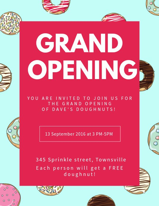 Grand Opening Invitation Template Free Beautiful Sweets Shop Grand Opening Flyer Template