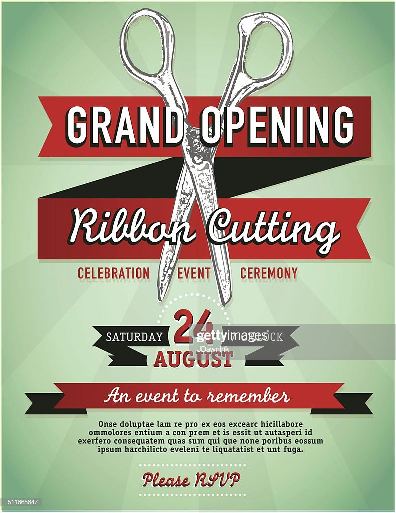 Grand Opening Invitation Template Free Elegant Ribbon Cutting Grand Opening with Scissors Invitation
