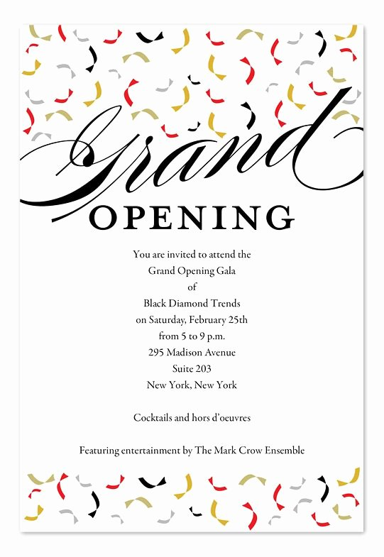 Grand Opening Invitation Template Free Luxury Trendy Opening