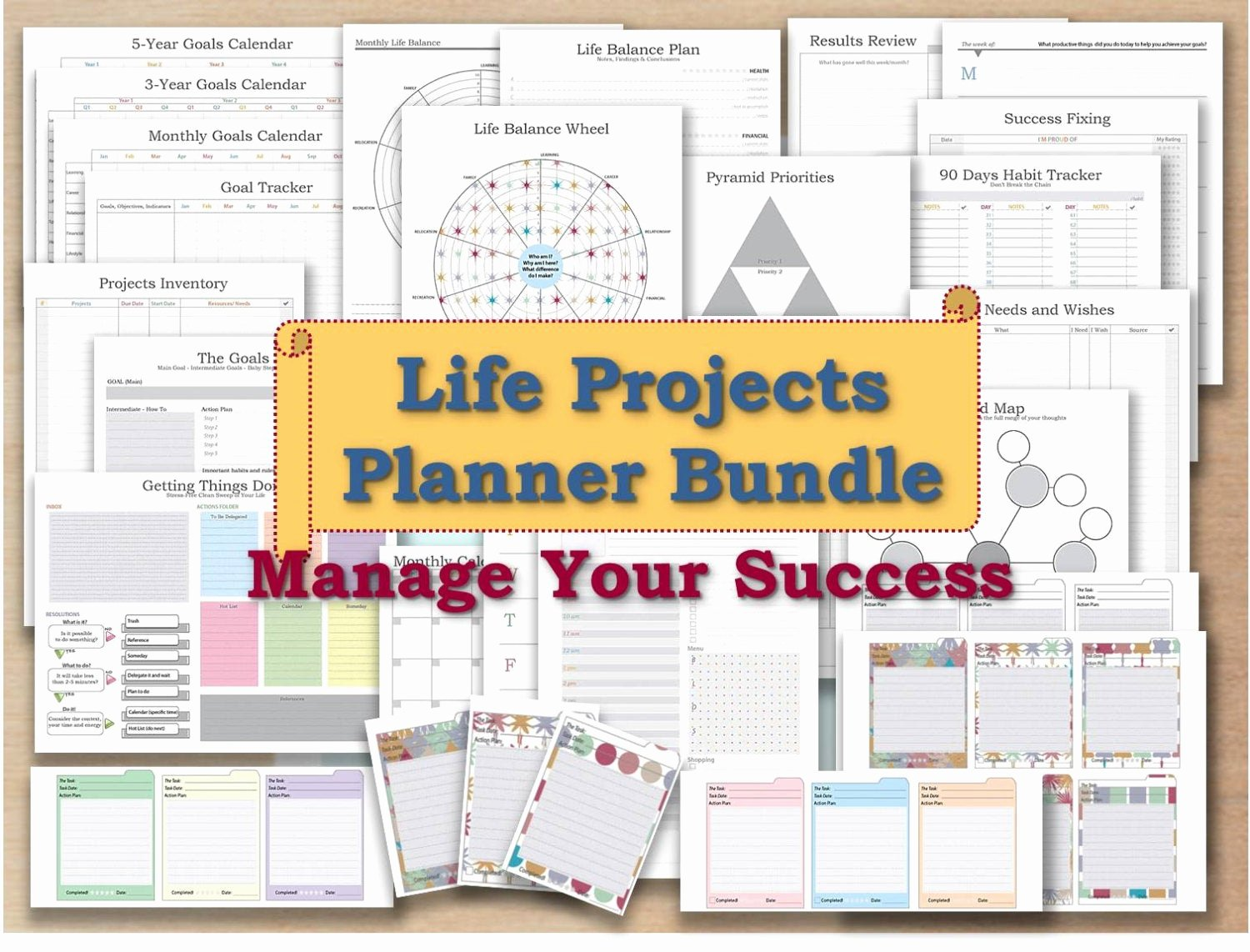 Gtd Project Planning Template Fresh Project Planner Life organizer Kit and Cards Plan Template