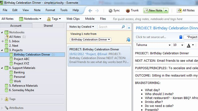 Gtd Project Planning Template Luxury Get Things Done with Evernote Using Gtd Templates