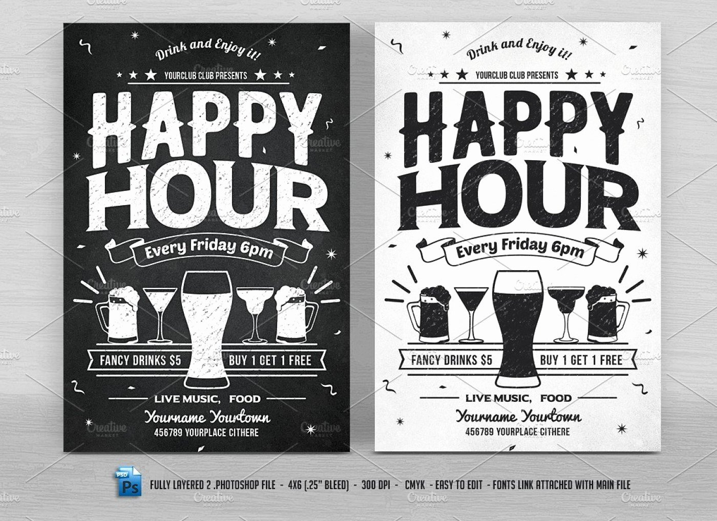 Happy Hour Invitation Email Template Fresh 026 Happy Hour Flyers Flyer Templates Creative Market