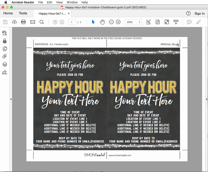 Happy Hour Invitation Email Template Luxury Chalkboard Happy Hour Invitation Template