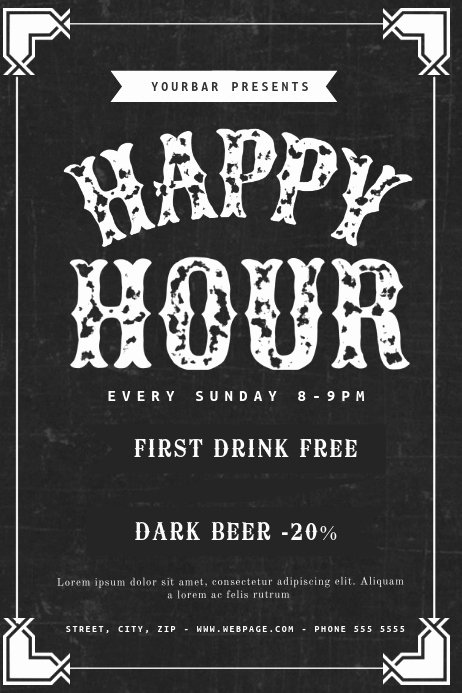 Happy Hour Invitation Template Best Of Happy Hour Flyer Template