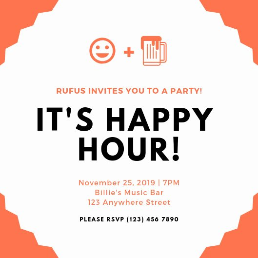 Happy Hour Invitation Template Inspirational Customize 101 Happy Hour Invitation Templates Online Canva