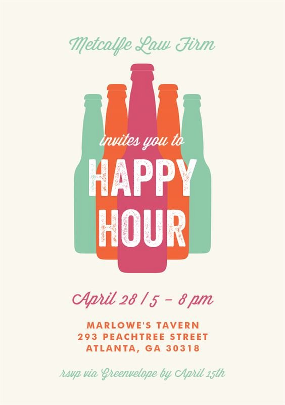 Happy Hour Invitation Template Luxury Bottled Happy Hour Invitations In Creme