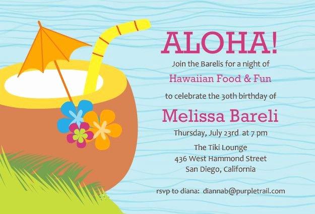 Hawaiian themed Invitation Template Beautiful Hawaiian Luau Party Invitation Template Free