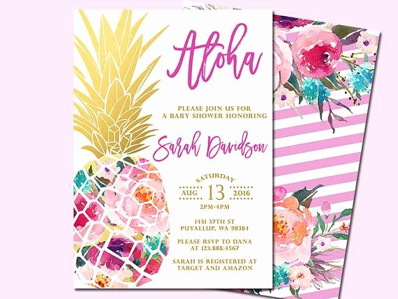 Hawaiian themed Invitation Template Beautiful Pineapple Baby Shower – Satsuma Designs