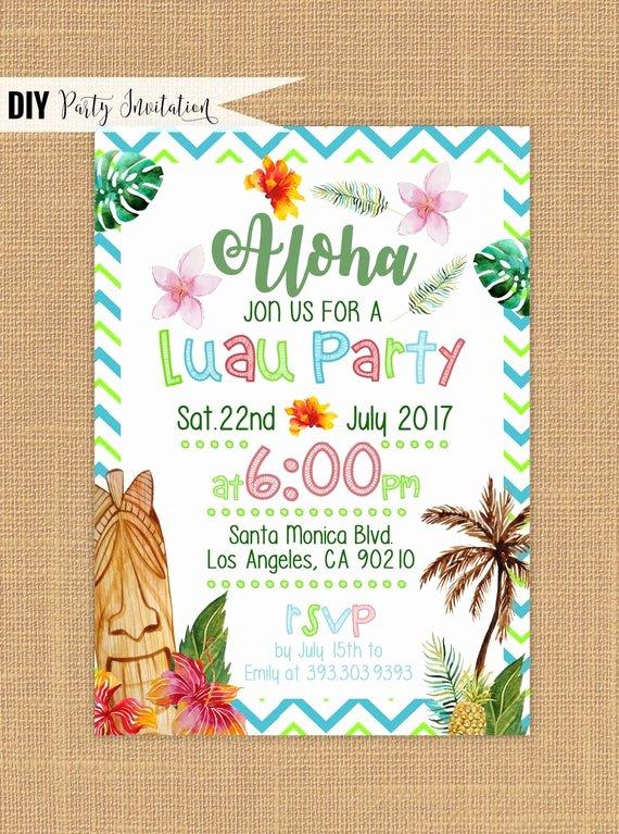 Hawaiian themed Invitation Template Best Of Luau Invitation Printable Luau Birthday Invitations