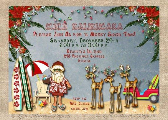 Hawaiian themed Invitation Template Elegant Hawaiian Christmas Party Invitation Santa Claus Party
