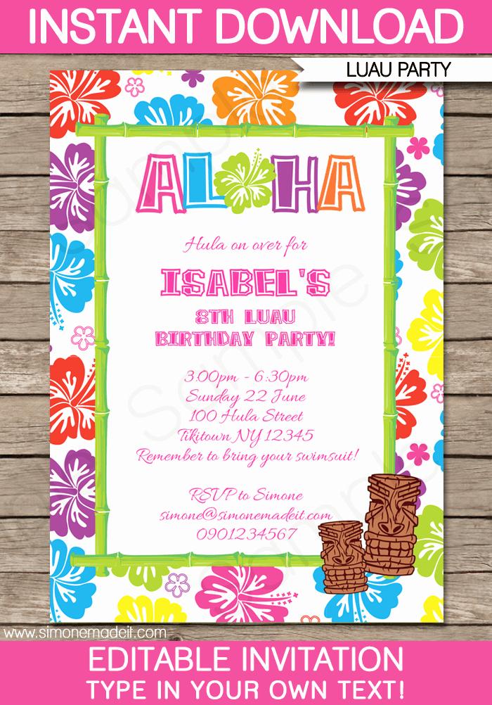 Hawaiian themed Invitation Template Elegant Luau Party Invitations Template Pool Parties