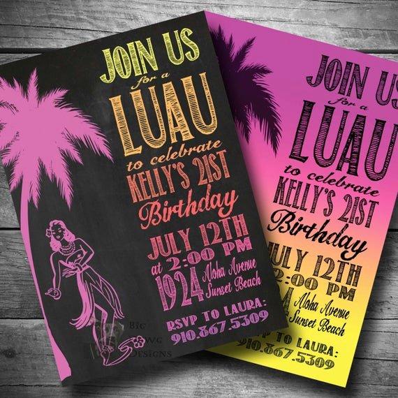 Hawaiian themed Invitation Template Fresh Luau Birthday Invitation Hawaiian themed Party Invite