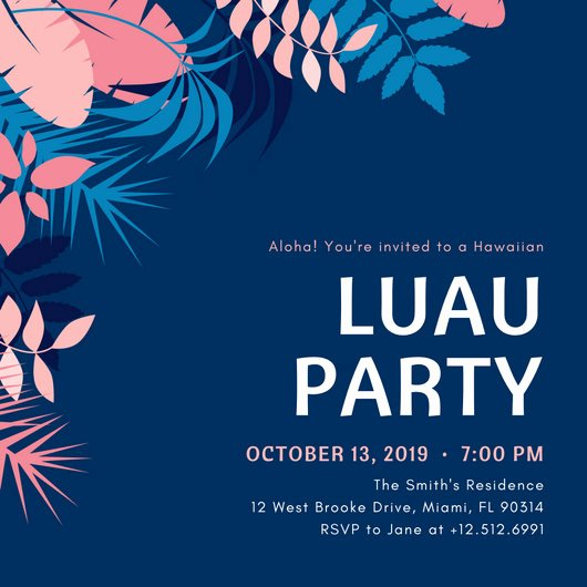 Hawaiian themed Invitation Template Fresh Luau Invitation Templates Canva