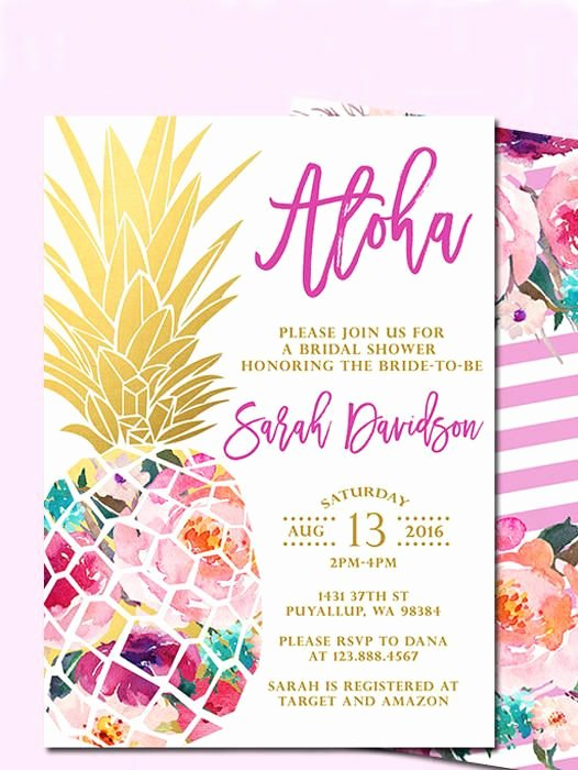 Hawaiian themed Invitation Template Inspirational 17 Printable Bridal Shower Invitations You Can Diy