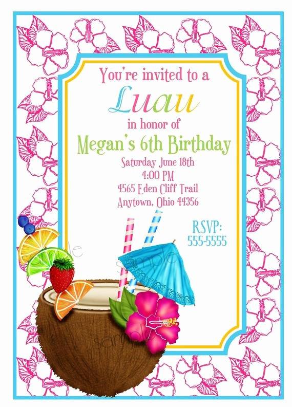 Hawaiian themed Invitation Template Lovely Hawaiian Luau Invitations Luau Invitations Coconut Hawaiian
