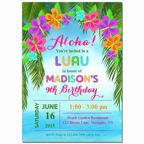 Hawaiian themed Invitation Template Lovely Luau Invitation Printable or Printed with Free Shipping