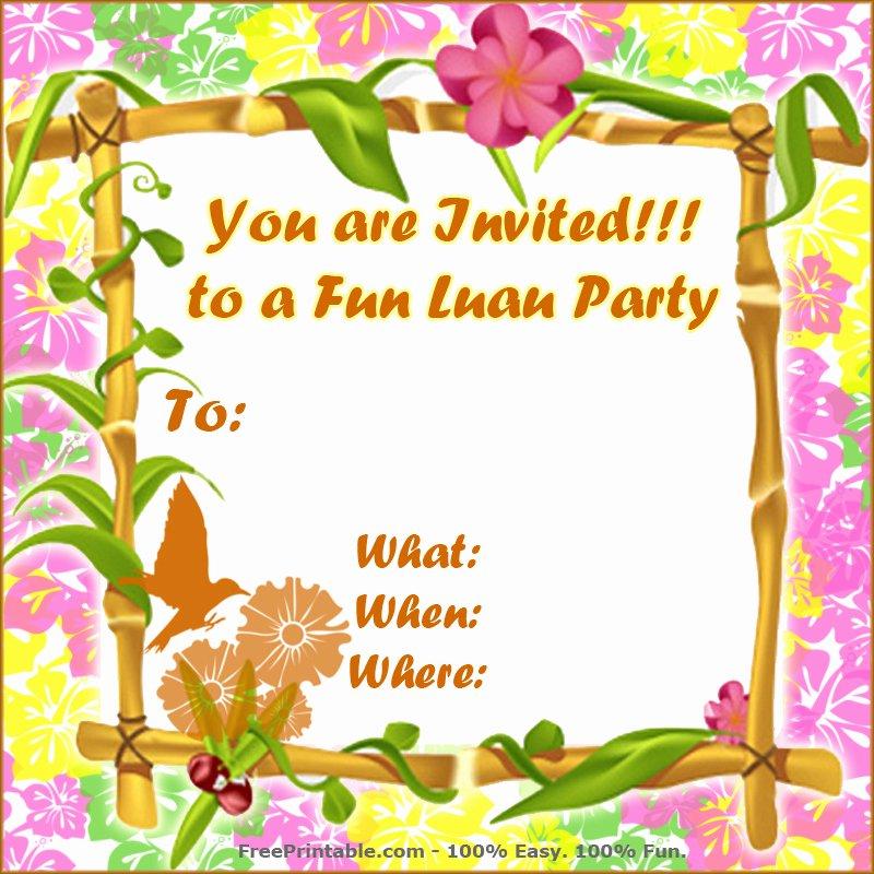 Hawaiian themed Invitation Template Luxury Free Luau Invitations