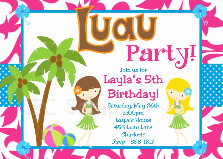 Hawaiian themed Invitation Template Luxury Luau Birthday Invitation Luau Party Invitations Printable or