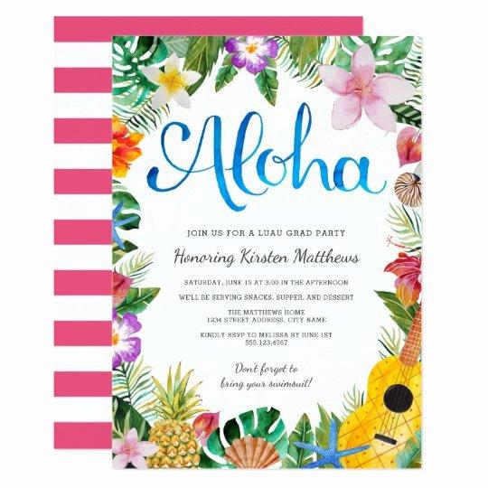 Hawaiian themed Invitation Template New Watercolor Tropical Luau Graduation Party Invite