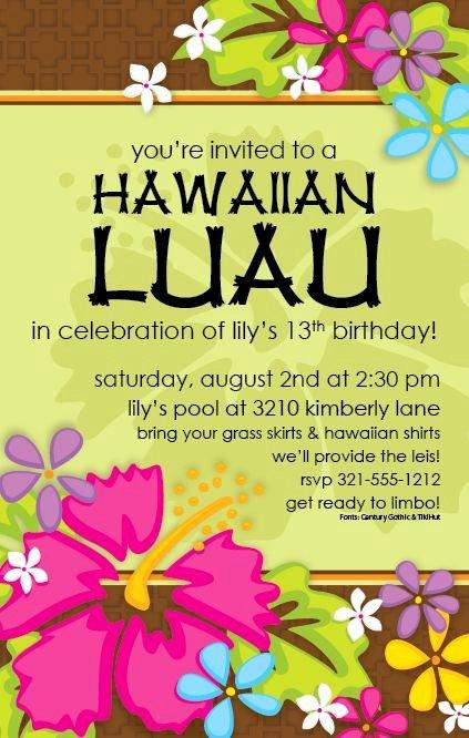 Hawaiian themed Invitation Template Unique Free Printable Luau Invitation Templates