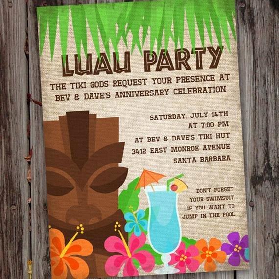 Hawaiian themed Invitation Template Unique Luau Invitation Luau Invite Hawaiian Luau Birthday Party