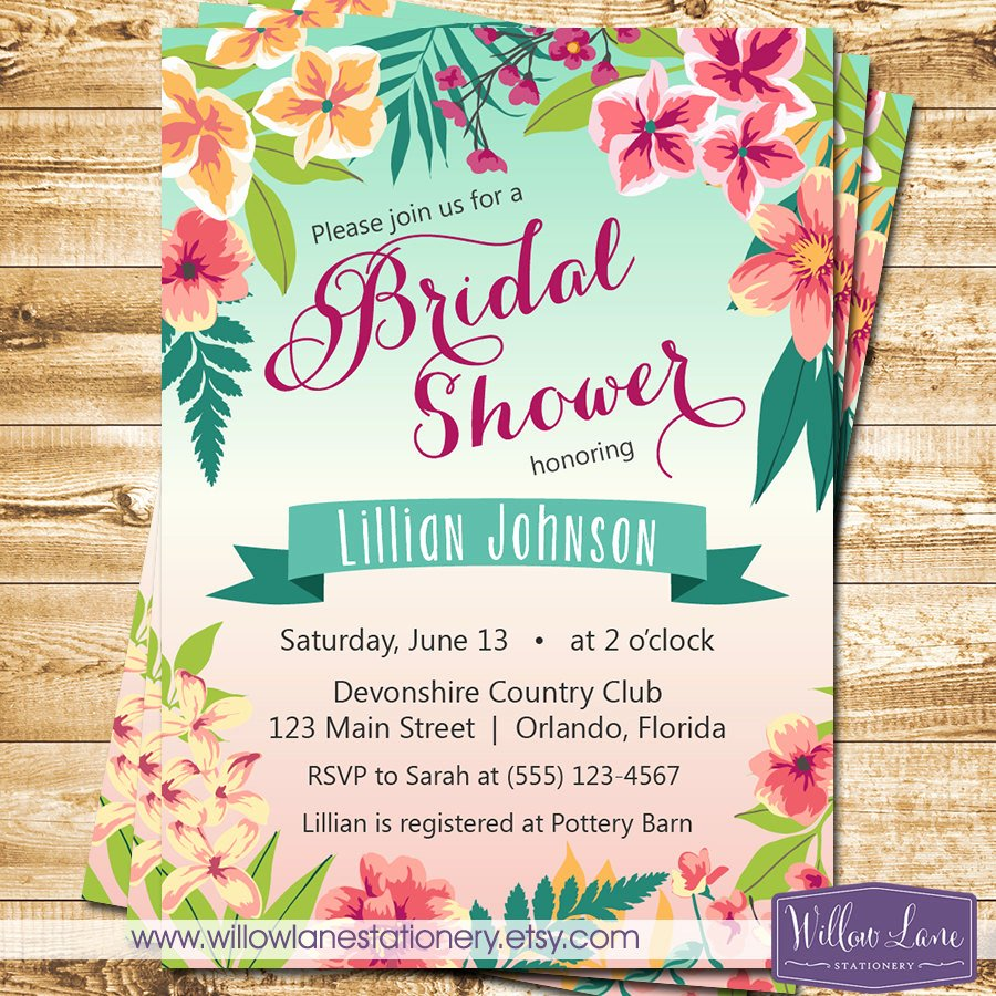 Hawaiian themed Invitation Template Unique Tropical Bridal Shower Invitation island Flowers Hawaiian