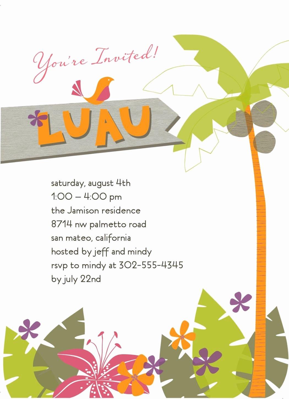 Hawaiian themed Invitation Template Unique Tropical Invitation Luau In 2019
