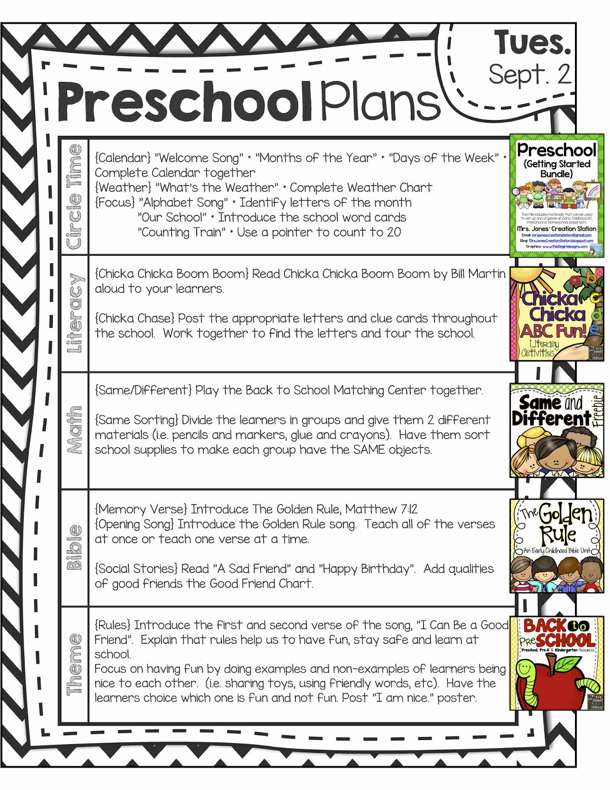 Head Start Lesson Plan Template Luxury Peek at My Week Back to Pre School
