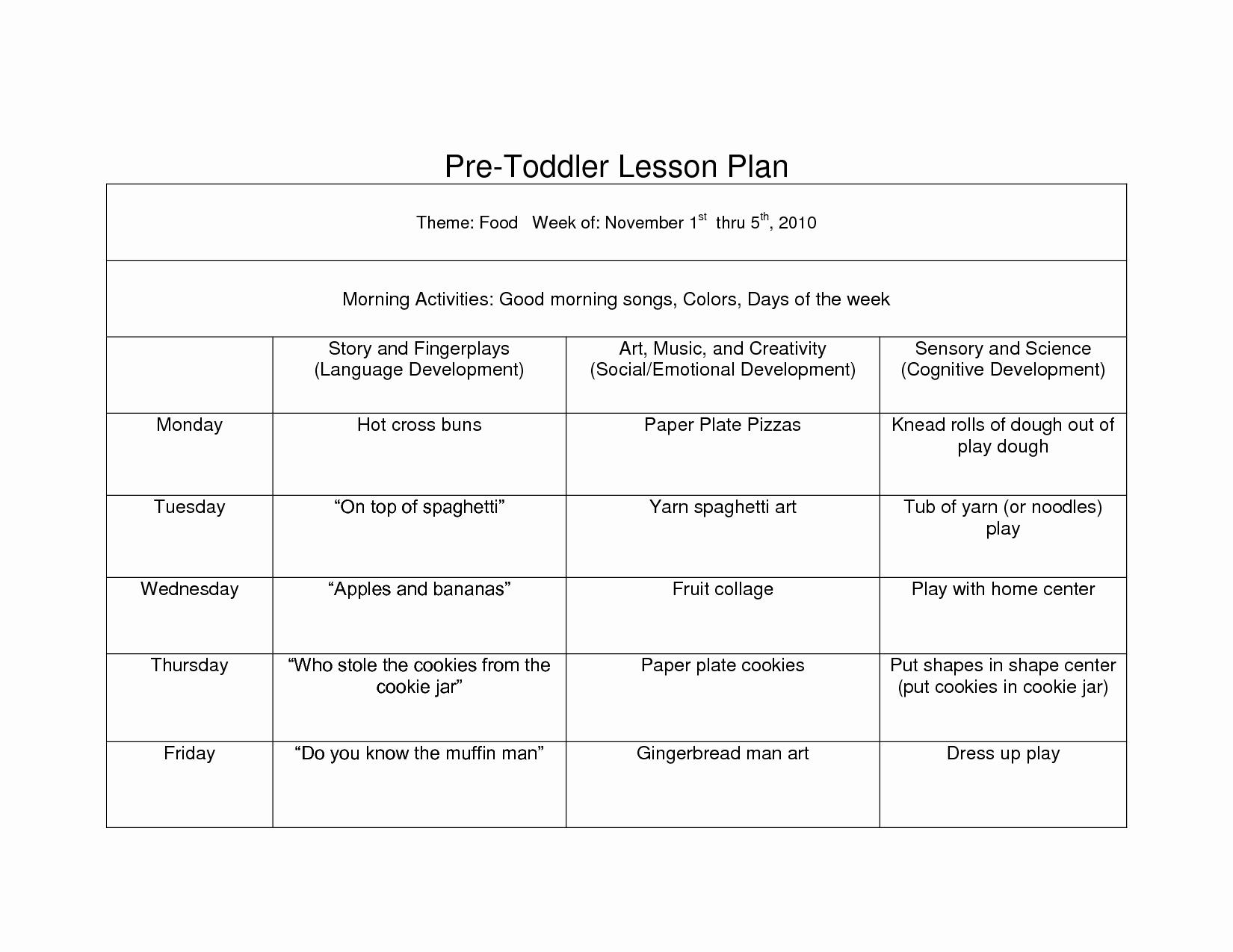Head Start Lesson Plan Template Unique Creative Curriculum Blank Lesson Plan