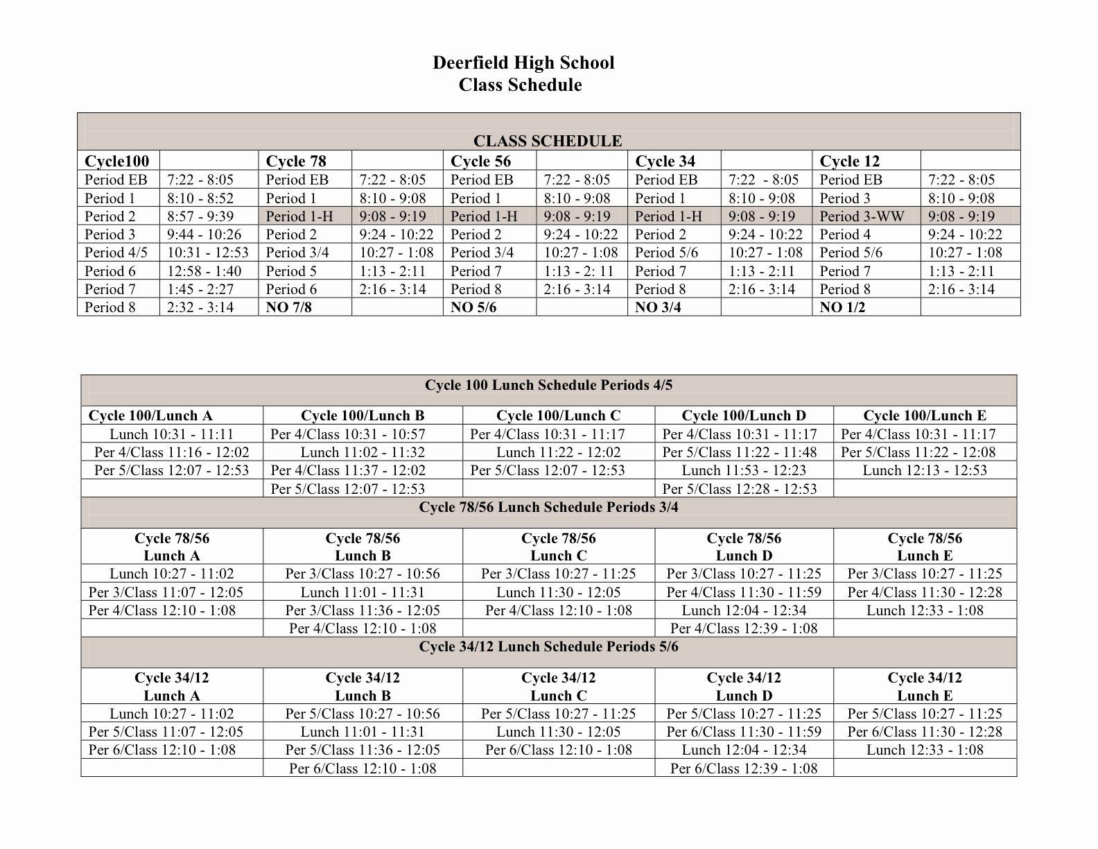 High School Schedule Template Beautiful File Deerfield Hs Block Schedule
